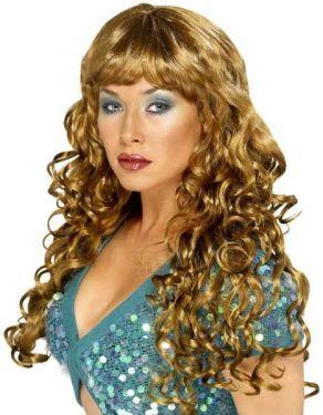 Ladies Siren Fancy Dress Wig - Brown